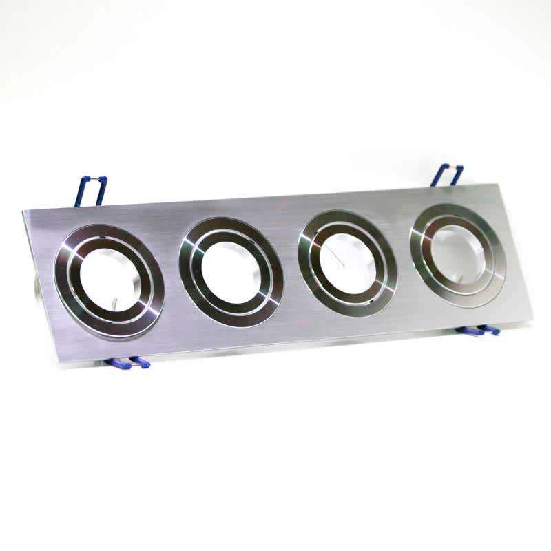 Housing for led downlight x4 adjustable spots square Nickel