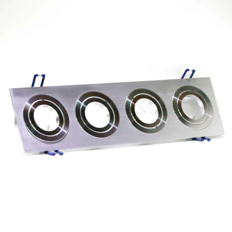 Spot 2 aros rectangular x4 focos níquel basculante